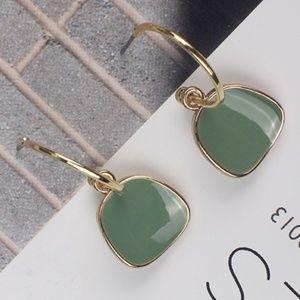 Mid Century Style Green Gold Enamel Retro Earrings